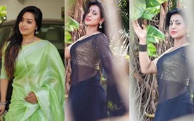 Model Shanaya Shannu Hot Transparent Saree Golden Blouse Photos