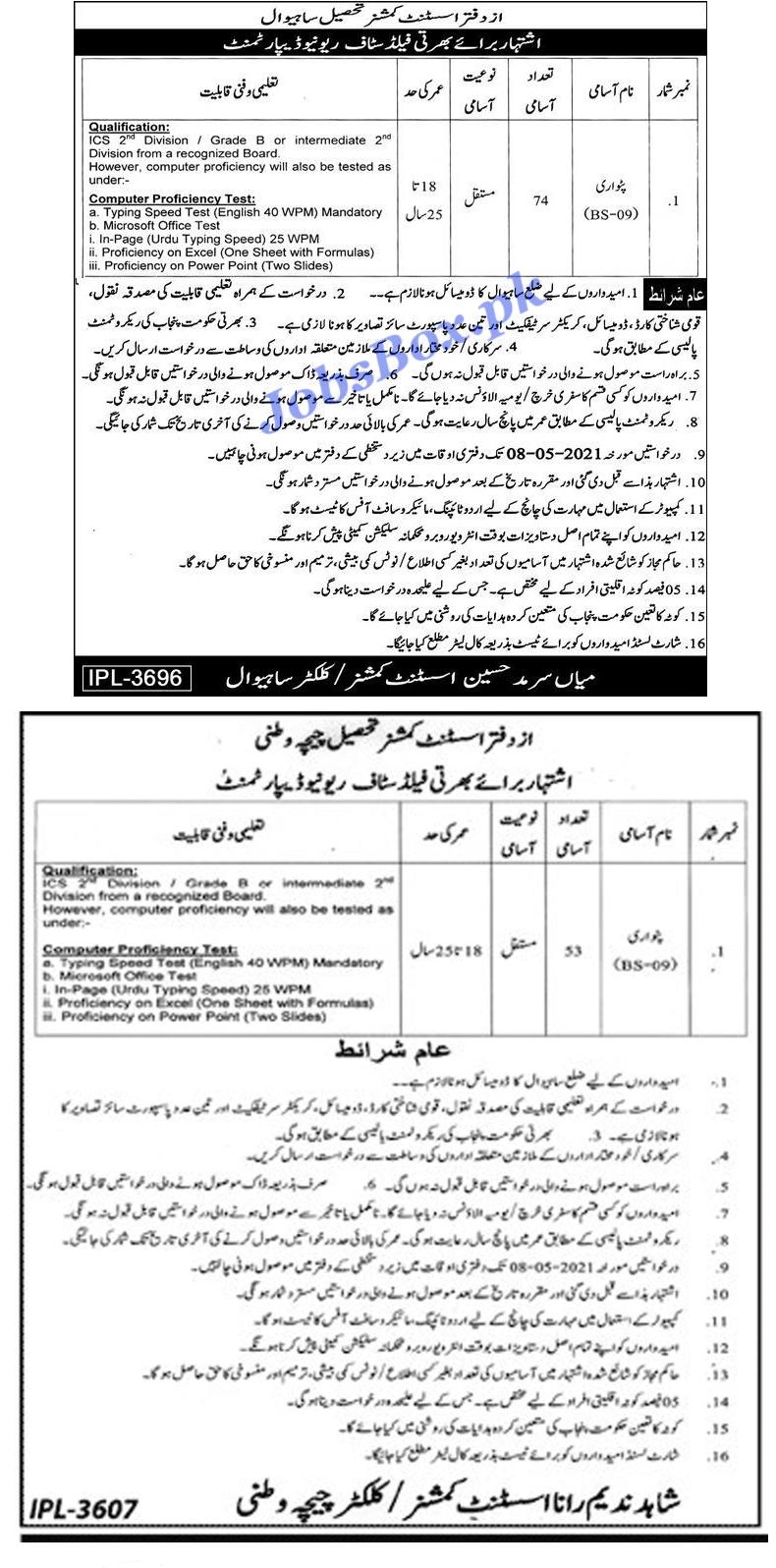 Latest Revenue Department Sahiwal Patwari Jobs 2021