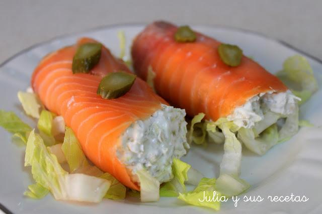 Rollitos de salmón y queso. Julia y sus recetas