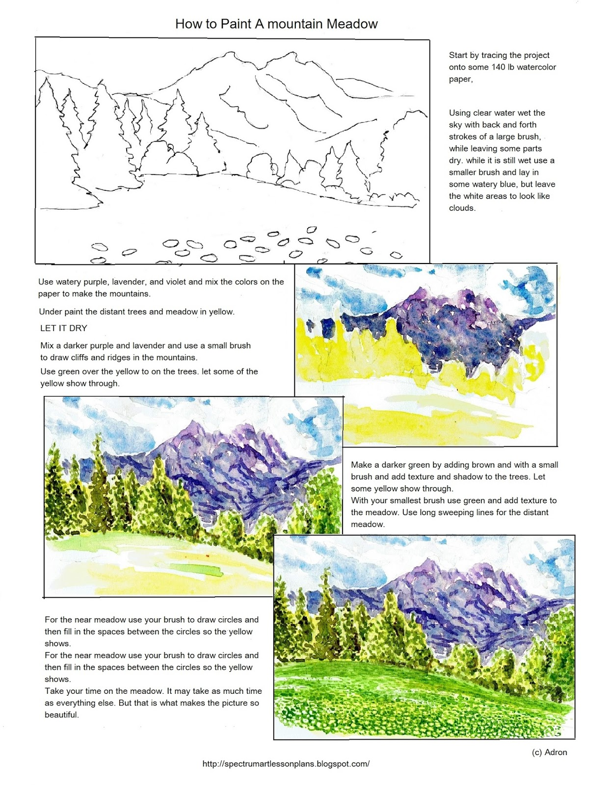 Adron S Art Lesson Plans How To Paint A Mountain Meadow