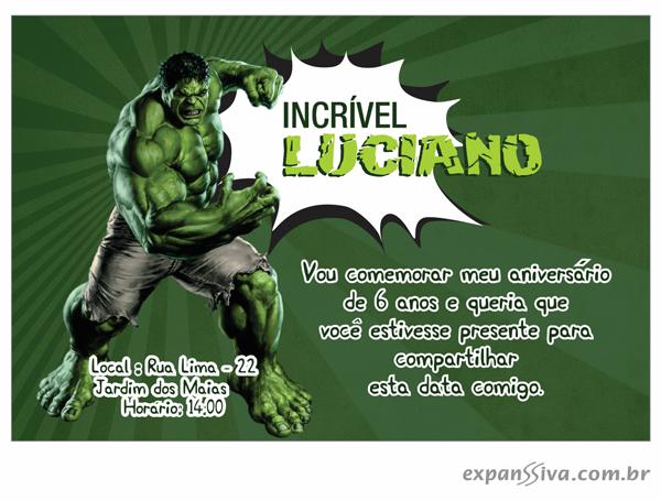 Convites de Aniversário do Hulk