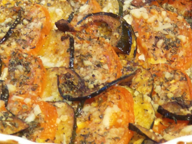 Tomato and squash au gratin fresh out of the oven