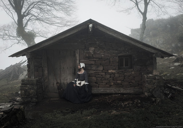 Samhain Blessings, Witch's cabin on the moors, 18th century witch, Misty Moors, Handmade Besom Broom, Aker Dantzaria, Mandragoreae by Victoria Francés