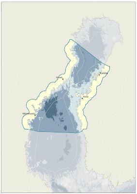 Itämeren kartta johon merkitty hankealue noin Kalajoelta Merikarvialle asti.