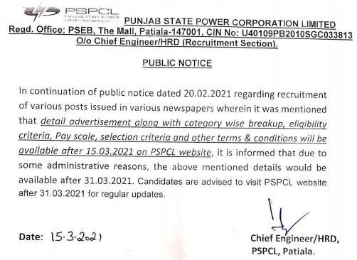 Punjab Bijli Board Recruitment 2021 for Clerk, Lineman 2632 Post