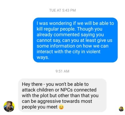 In Cyberpunk 2077 you can not kill children and plot NPC