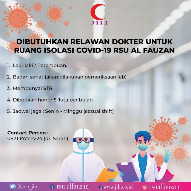 Dibutuhkan Relawan Dokter Untuk Ruang Isolasi Covid-19 RSU Al Fauzan Jakarta