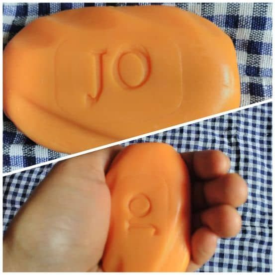 Jo sandal and Turmeric soap in hand - ergonomic, easy to hold