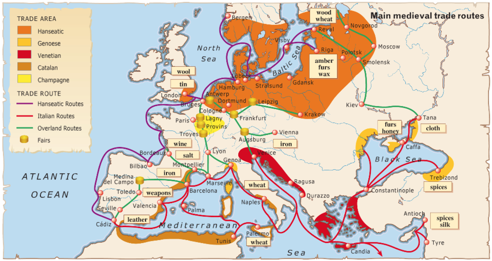 medieval europe trade routes