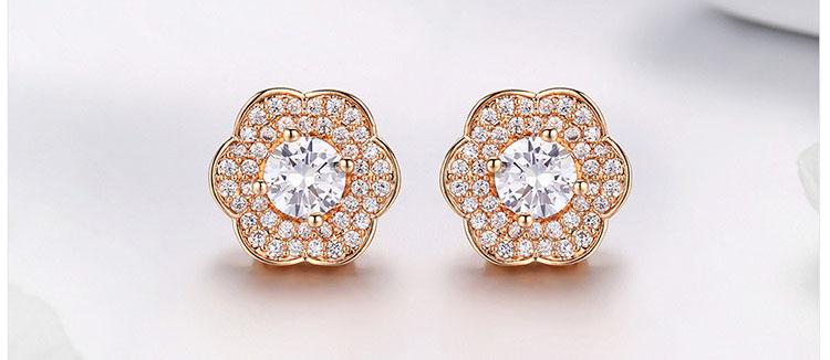 富貴香檳金花朵鋯石耳環