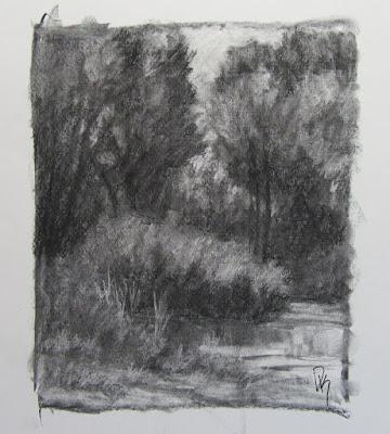 nature landscape pond charcoal sketch