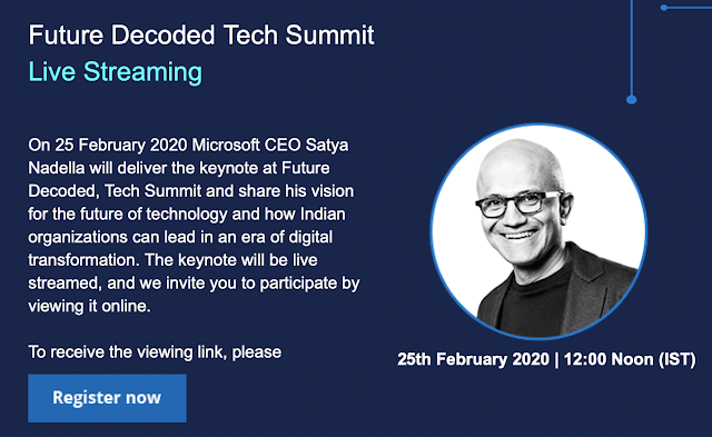 Register to listen to Microsoft CEO Satya Nadella at Future Decoded 2020