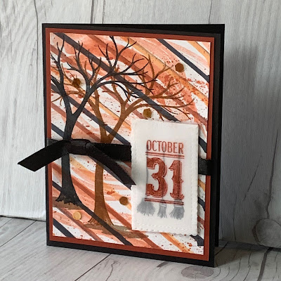 Halloween Card idea using Stampin' Up! Festive Post Stamp Set