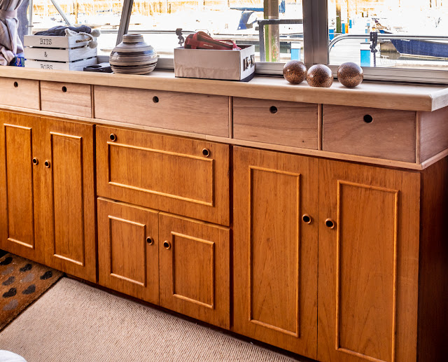 Photo of the new drawers in Ravensdale's saloon awaiting varnish