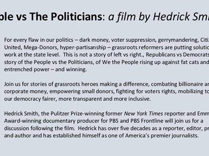 #NH Events-'People vs. Politicians': @HedrickSmith1 - Multiple Dates & Locations