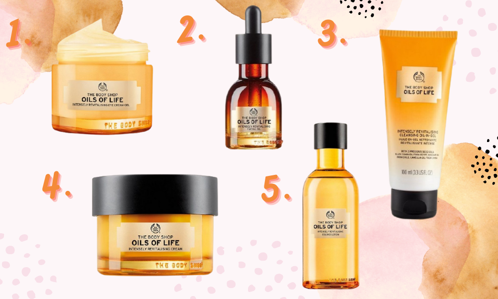 Collage showing a range of products from the body shops oils of life range
