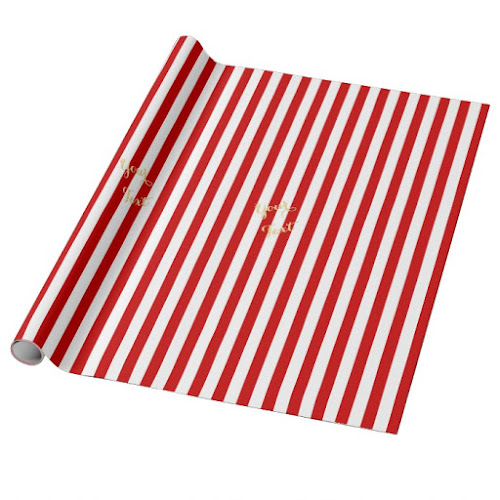 Christmas Red White Stripes Pattern Faux Gold Text Wrapping Paper