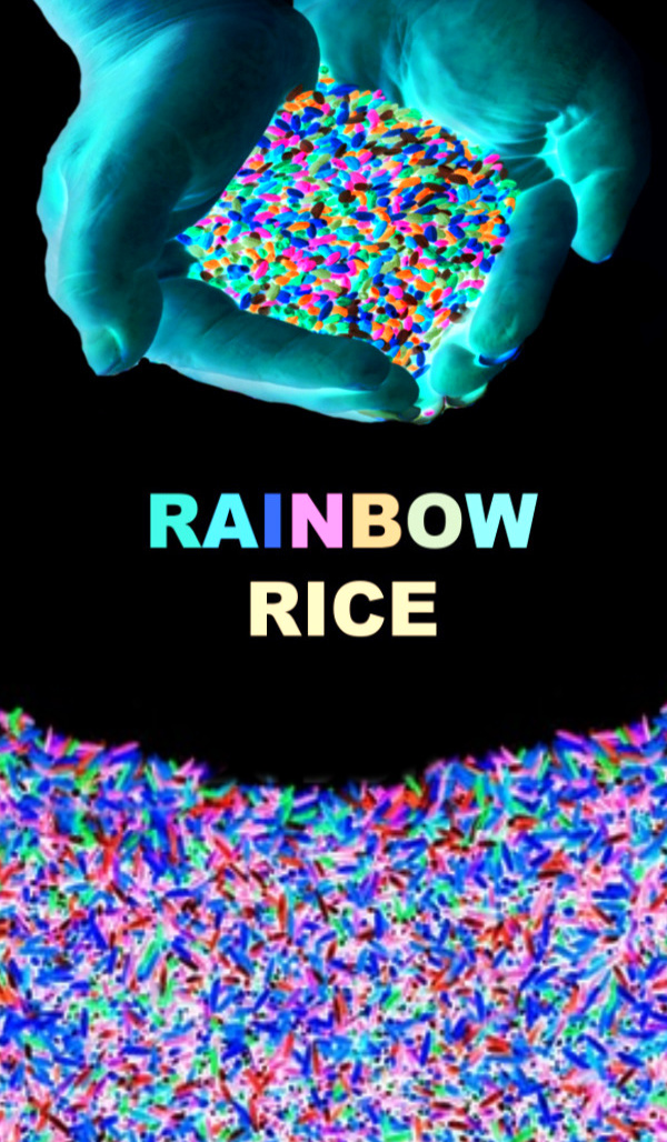 Make rainbow rice for kids that glows in the dark!  This easy recipe produces beautifully vibrant neon rice that can be used in all sorts of sensory activities and crafts. #glowinthedarkrice #glowinthedarkricediy #glowingrainbowrice #glowingrice #riceforkids #rainbowrice #neonrice #rainbowricesensory #growingajeweledrose