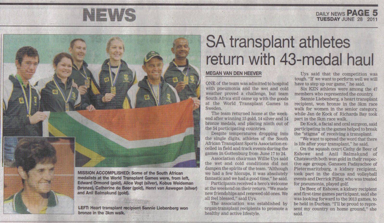 SA Transplant Sports Association: Newspaper Article 28 ...