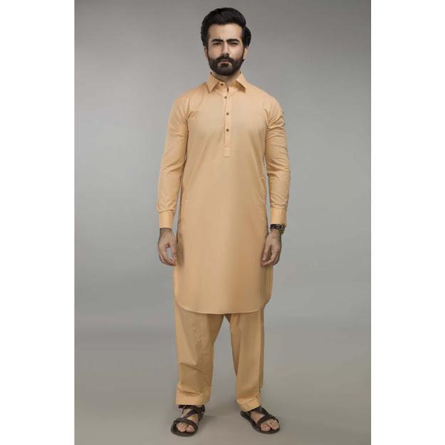 Gul Ahmed Men's Eid collection peach color shalwar kameez