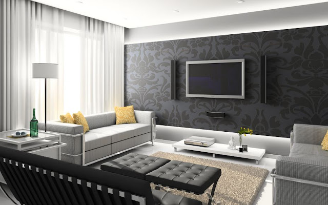 Black and White Interior Design with Home Theater1