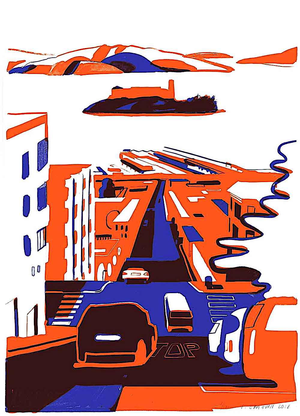 Christoph Niemann art, traffic in red and blue with an island in the bay