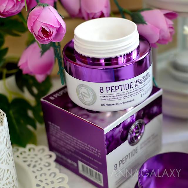 Enough 8 Peptide Sensation Pro Balancing Cream представлен в большой красивый упаковке