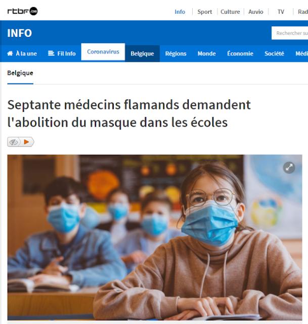 """Βέλγιο: 70 ιατροί Φλαμανδοί ζητούν την Κ Α Τ Α Ρ Γ Η Σ Η της μάσκας στα σχολεία για παιδιά και εκπαιδευτικούς μ΄επιστολή τους προς τον Υπουργό! (Τ' ακούτε ρε """"ΑΝΘΕΛΛΗΝΙΚΑ πολιτικά καθάρματα"""";;;)"""