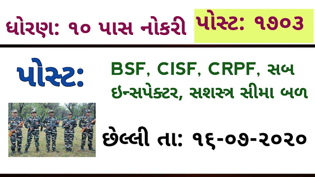 SSC SI Recruitment 2020 – Apply Online for 1703 CRPF, BSF, ITBP, CISF, SSB And Delhi Police SI Vacancy