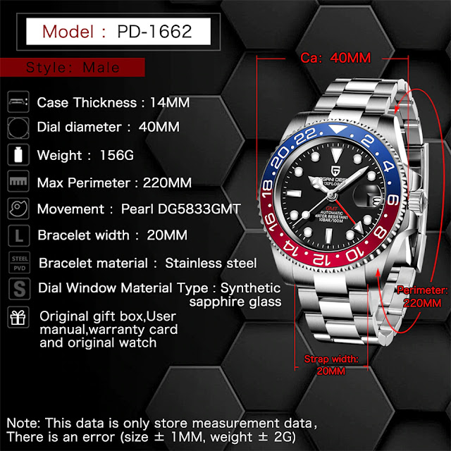 Pagani Design Men Watches Black Bay Homage 42mm Japanese NH35 Automatic Movement, Sapphire Crystal, 316L Stainless Steel, 100M Waterproof