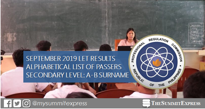 A-B PASSERS Secondary: LET Result September 2019