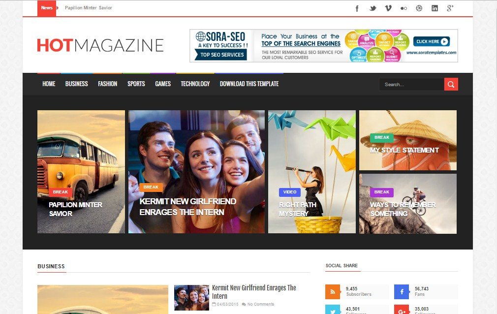 Hot Magazine blogger template free download