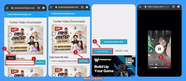 Mendownload video twitter tanpa aplikasi - by TWD