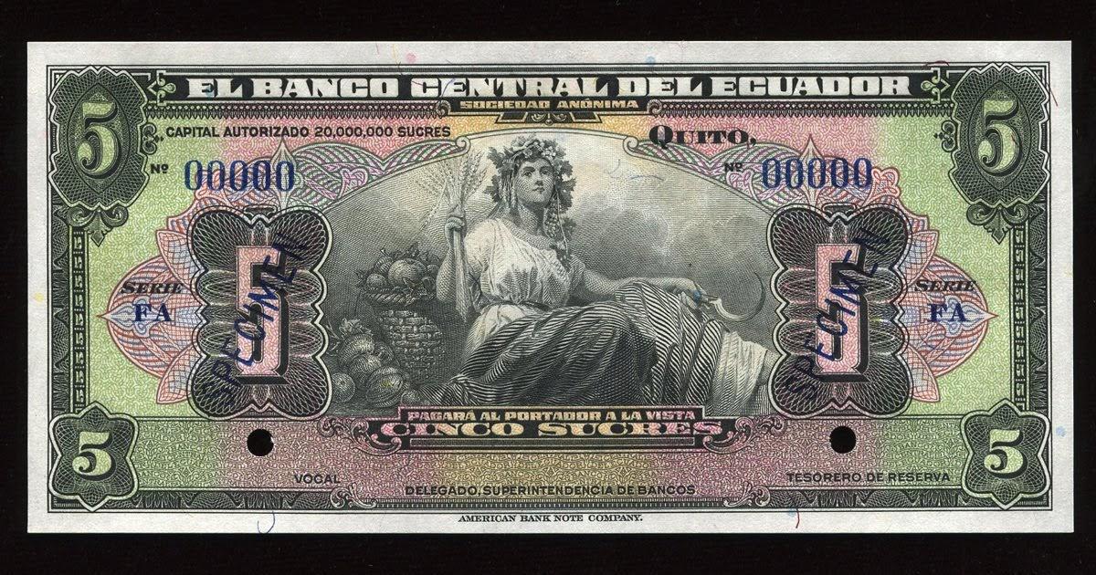 Ecuador Currency 5 Ecuadorian Sucres Banknote 1939-1967