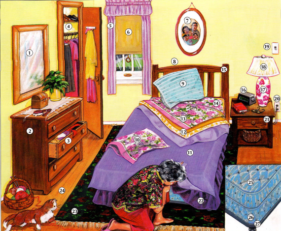 English Activities Picture Vocabulary A Bedroom Exercise