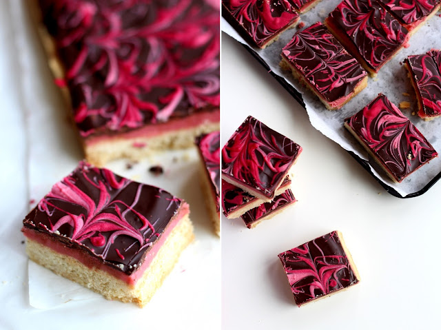 Slices of RASPBERRY CARAMEL MILLIONAIRE SHORTBREAD