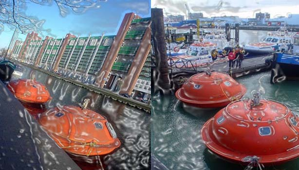 The survival oil rig pods have been refurbished to make them floating housings.  You will see these strange orange pods floating in dissimilar directions. Three persons can accommodate in each pod, which has its own toilet.