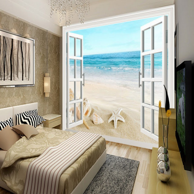 beach wall mural ocean waves window wallpaper tropical mural nature landscape wallpaper beautiful beach 3D photo mural for bedroom living room