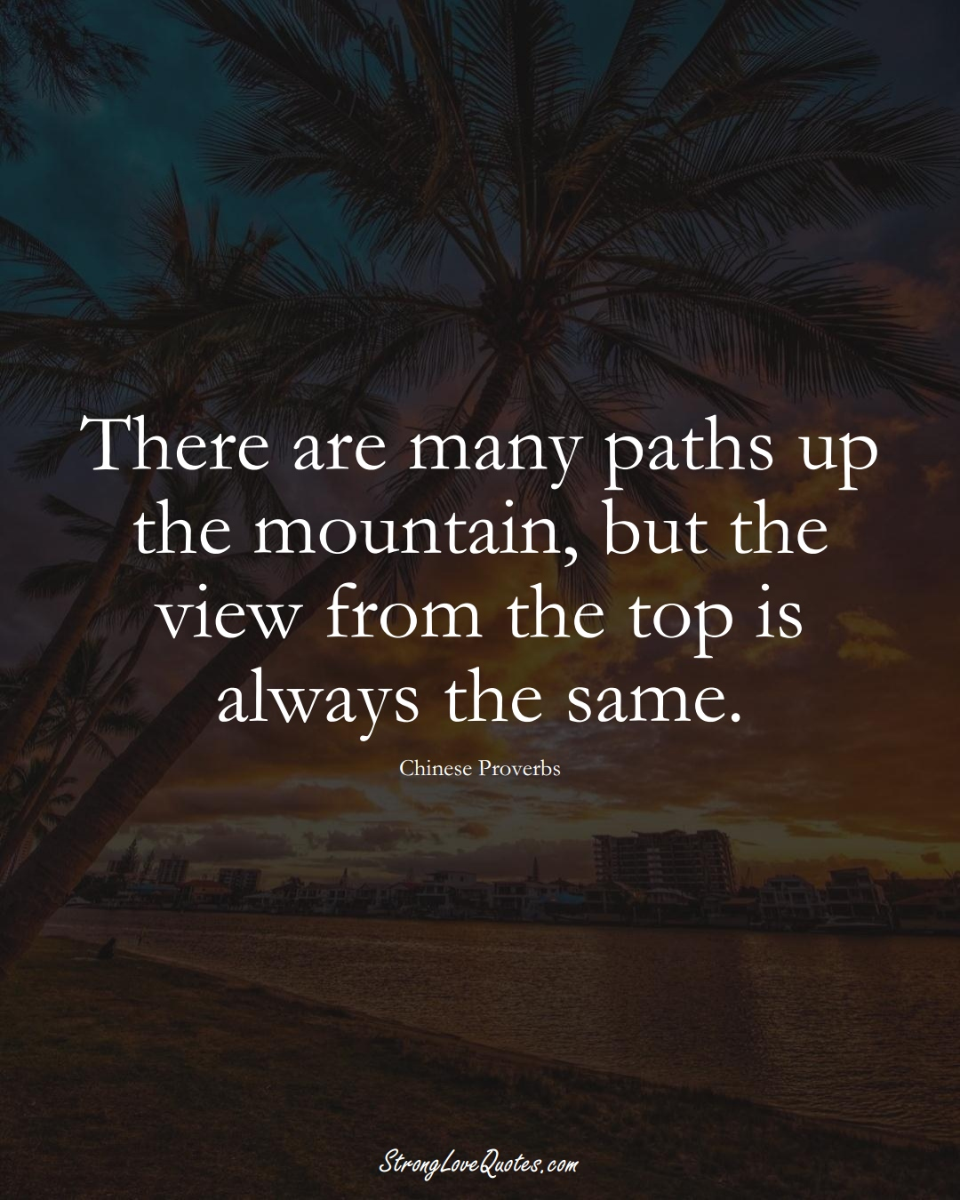 There are many paths up the mountain, but the view from the top is always the same. (Chinese Sayings);  #AsianSayings