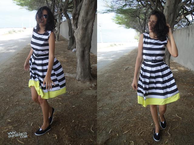 vestido listrado shein