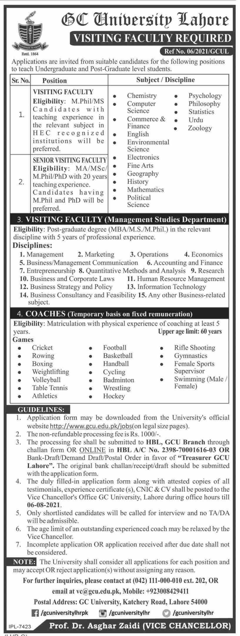 GC University Lahore Jobs 2021 – Government College University Jobs