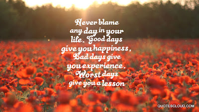 Quotes that bring happiness: Never blame any day in your life.