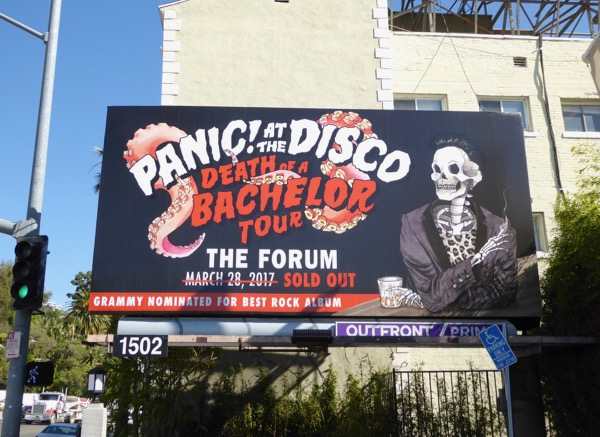 Panic at the Disco Death of Bachelor Tour billboard