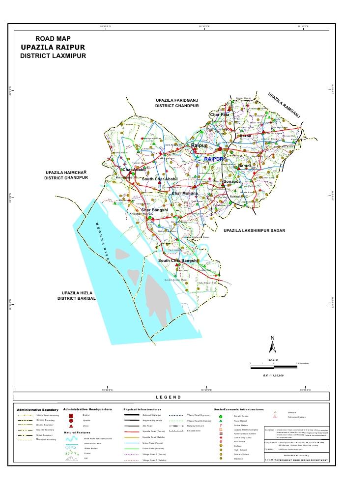 Raipur Upazila Road Map Lakshmipur District Bangladesh
