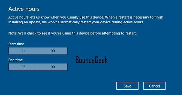 Active Hours in windows 10 Bouncegeek