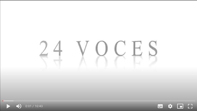 Se ve la foto de un video con el título veinticuatro voces
