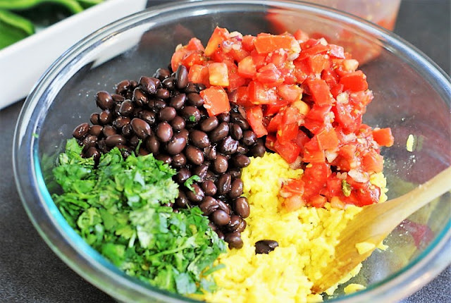 Mixing Filling for Southwestern Stuffed Poblano Peppers Image
