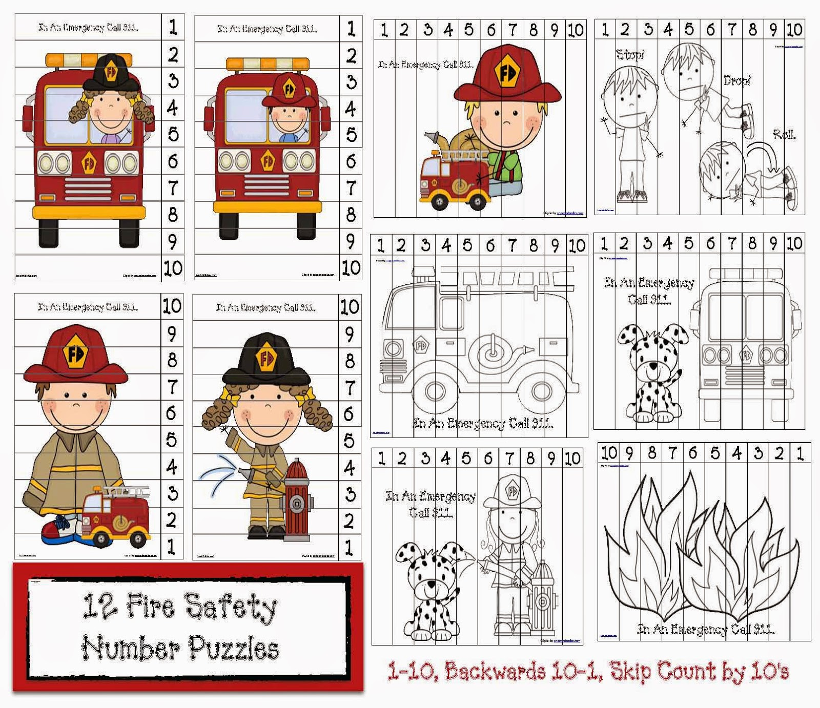 Classroom Freebies Fire Safety Number Puzzles