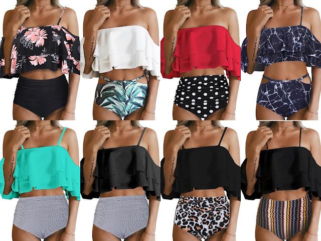 Ruffle Off Shoulder Bikini Swimsuits - As Low As $8.39!