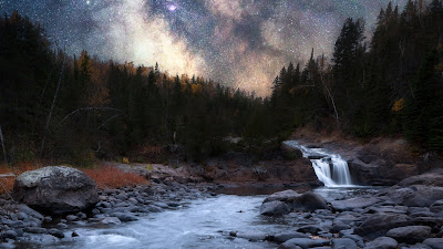 River, Night, Starry Sky, Trees, Water, Nature